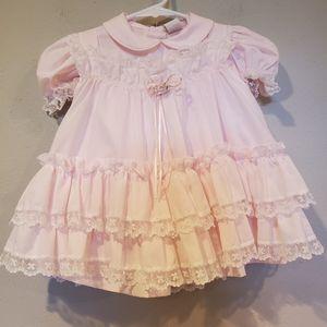 Vintage Bryan Pink Polka-dots Lace Dress Size 2T